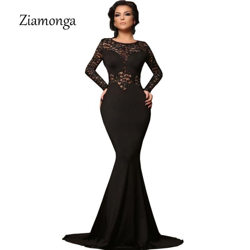 Повседневные платья Ziamonga Plus Размер Vestidos Женщины Сексуальная вечерняя вечеринка Черное кружевное платье с длинным рукавом Bodycon Mermaid Elegant Maxi