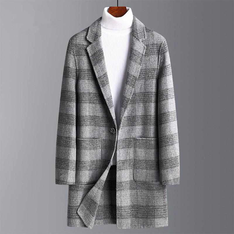 Hombre invierno nueva marca otoño doble lana lana hombres combinaciones abrigos de color sólido de alta calidad para hombres de lana de hombres