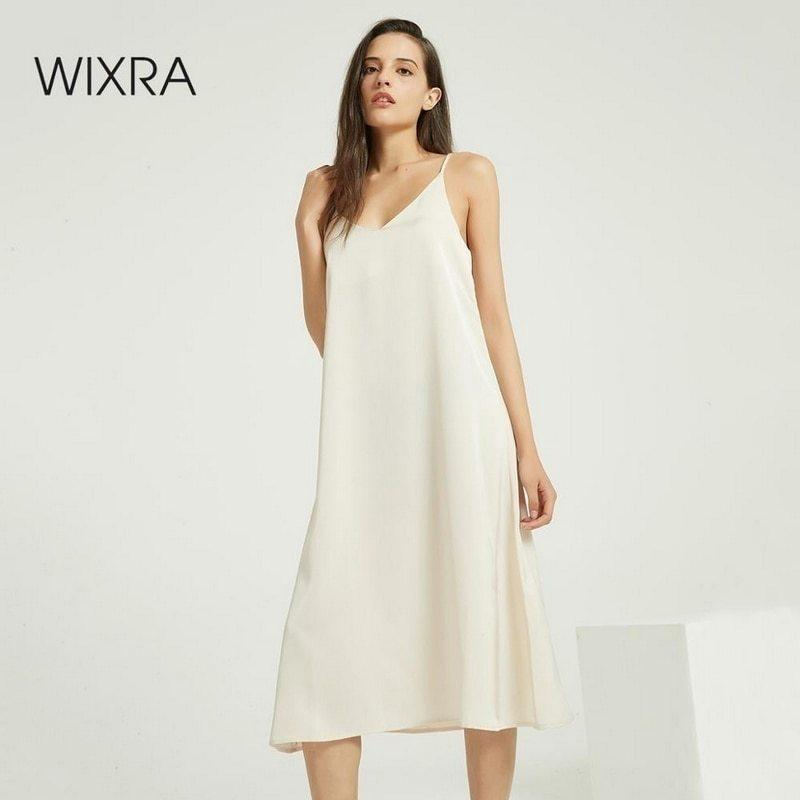 Wixra Sexy Strap Backless Satin Dress Loose Dresses Spring Summer New Sleeveless Basic Solid Womens Clothing 210222