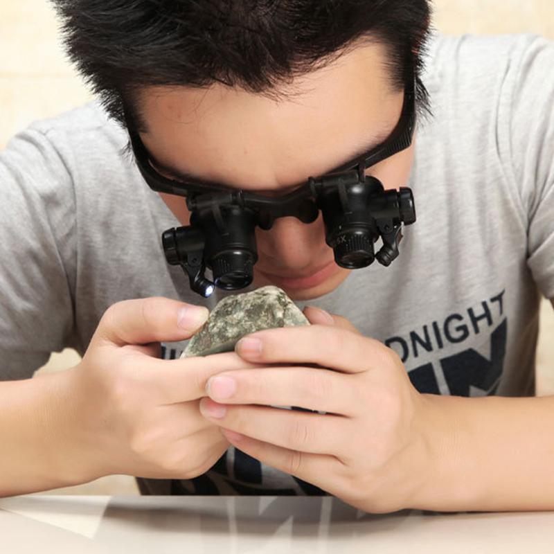 테이블 램프 10x 15x 20x 25X 돋보기 보석상 시계 메이커 LED 밝은 안경 돋보기 램프 광학 악기 읽기