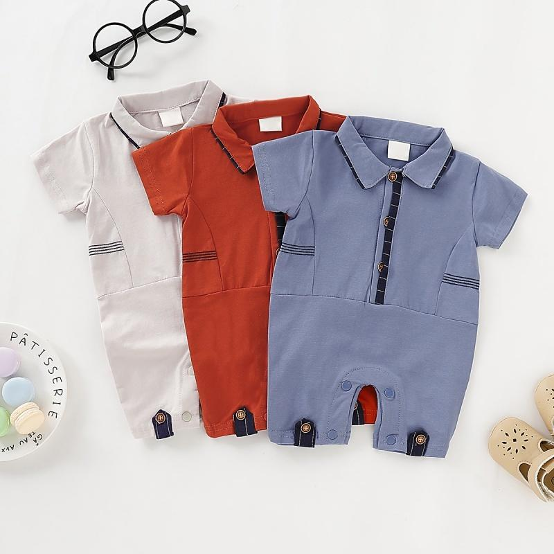 Baby Boy Girl Rompers Turn-down Collar Infant Newborn Cotton Clothes Jumpsuit For 0-2Y Toddlers Bebe Outfits Q0201