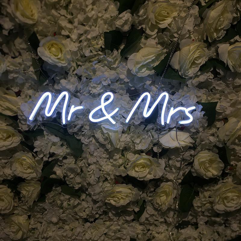 미스터와 부인 네온 징후 벽 침실 룸 파티 장식을위한 진짜 튜브 유리 조명