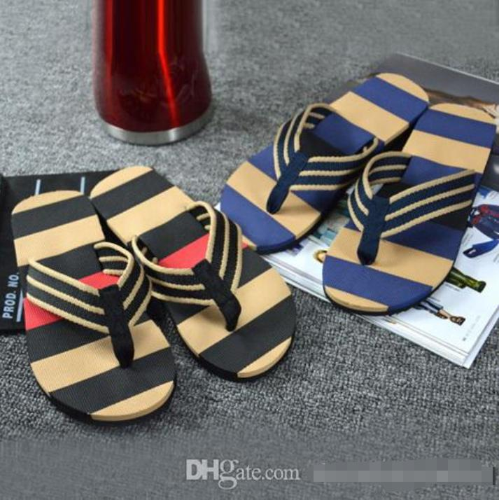 Hot sale-Hot Selling Fashion Men Summer Stripe Flip Flops Shoes Sandals Male Slipper Flip-flops EVA Mixed Colors Flat with Shoes 2019