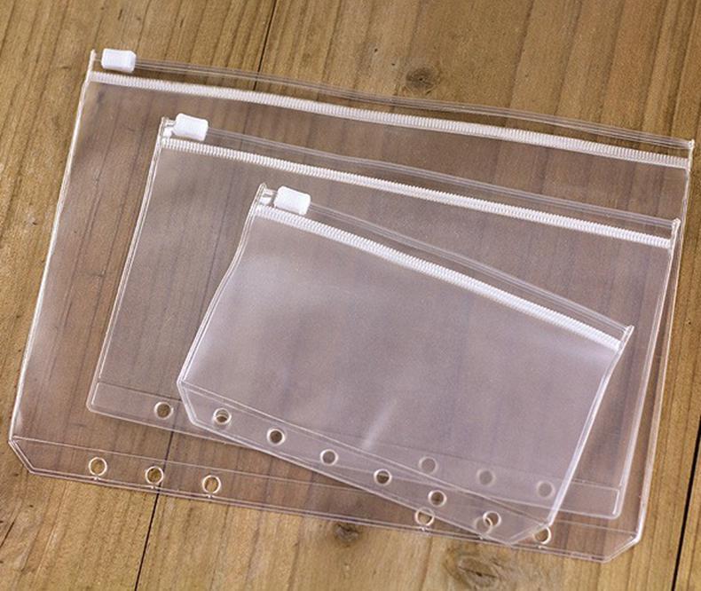 A6 pvc الموثق واضح سستة حقيبة التخزين 6 حفرة للماء جودة عالية أكياس القرطاسية مكتب السفر المحمولة وثيقة كيس wll261