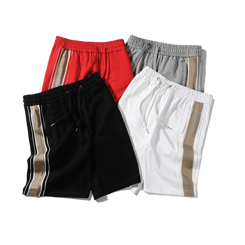Calções do homem de verão com letra geométrica Moda calções casuais Cintura elástica Calças curtas para homens de esportes S-2XL opcional