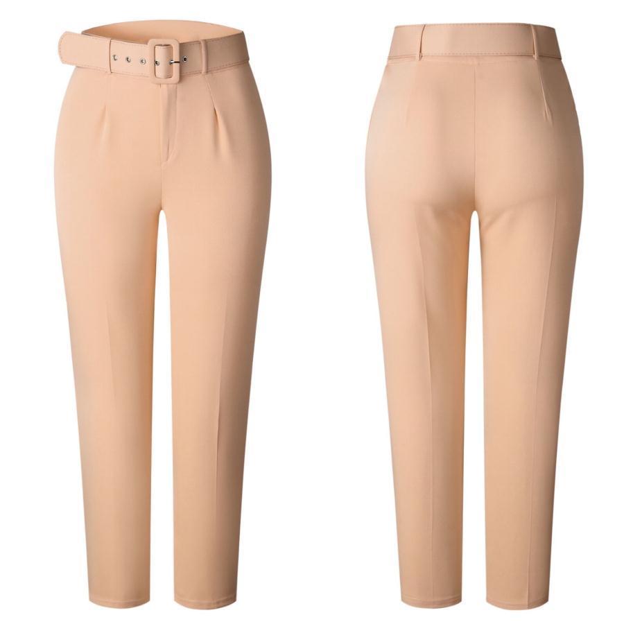 2021 New Longs Traje Pantalones Pantalones Cinturón Moda Pantalones de Lujo Mujeres Diseñador Femme Mujer Pantalones Pantalones Leggings Mujer Womans Ropa Hecho en China