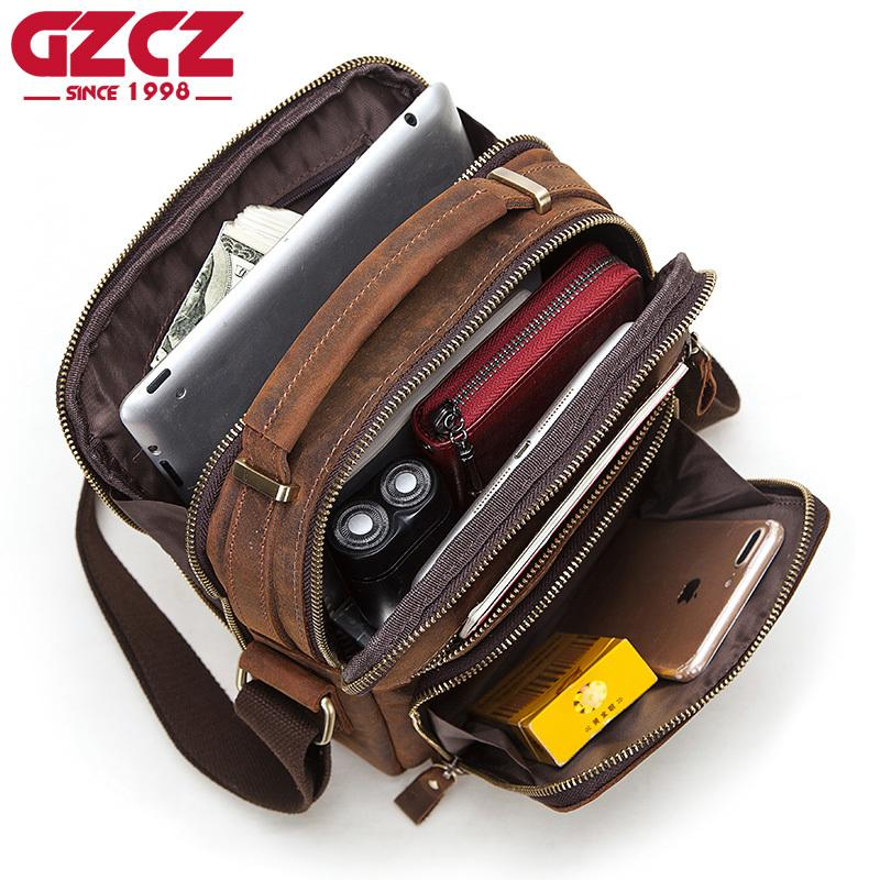 GZCZ 100% Quality Male's Messenger Bag Small Fashion Genuine Leather Shoulder Bags Business Crossbody Casual Bag Famous Brand C0224