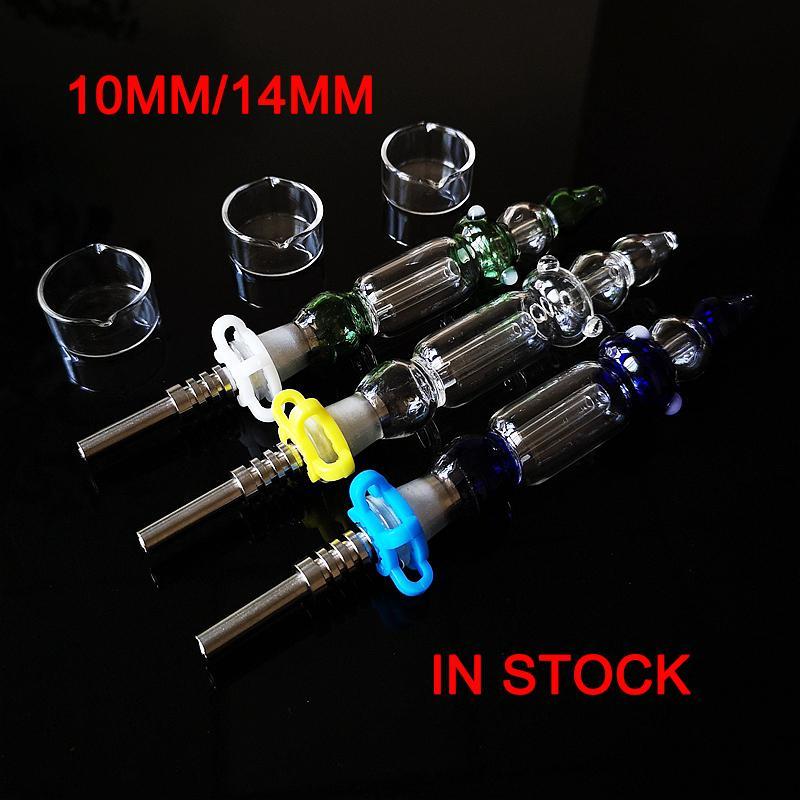 뜨거운 미니 Nector 콜렉터 키트 10mm 14mm 컬렉터 DAB 물 담뱃대 밀짚 오일 rigs 마이크로 NC 세트 유리 물 파이프 티타늄 팁 NC18