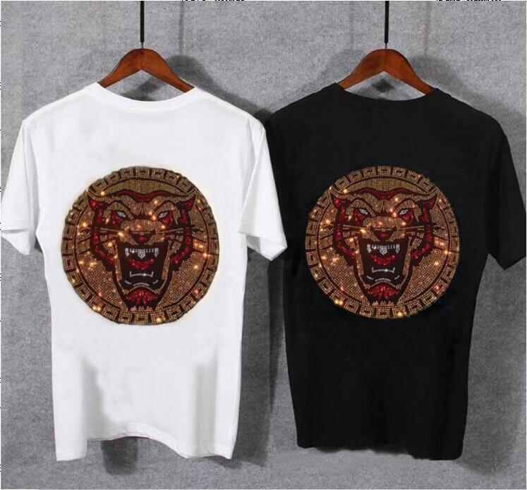 2021 Новая горячая дрель повседневная футболка мужская рубашка с коротким рукавом бизнес стройный горный хрусталь мужской футболки белый и черный M-5XL IHW5