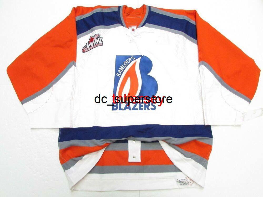 Dikişli Özel Kamloops Blazers WHL Beyaz Hokey Jersey Herhangi bir isim ekleyin Erkek Çocuklar Jersey XS-5XL