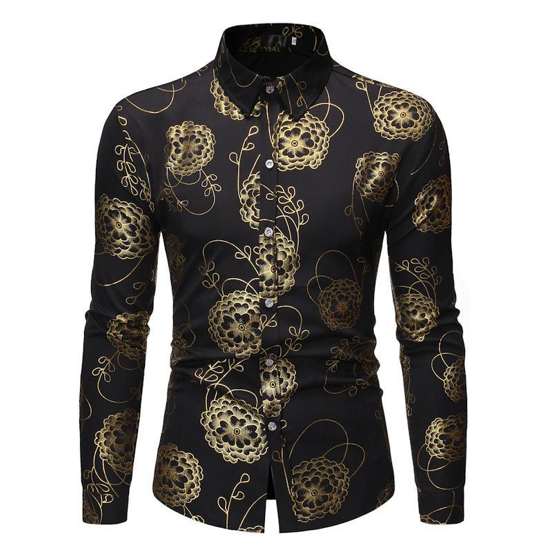 Мужская кнопка позолоченные рубашки позолоченные рубашки Мужчины Шинни Цветочные напечатанные стильные Улучшенные стройные подходят с длинным рукавом платья рубашка CS77