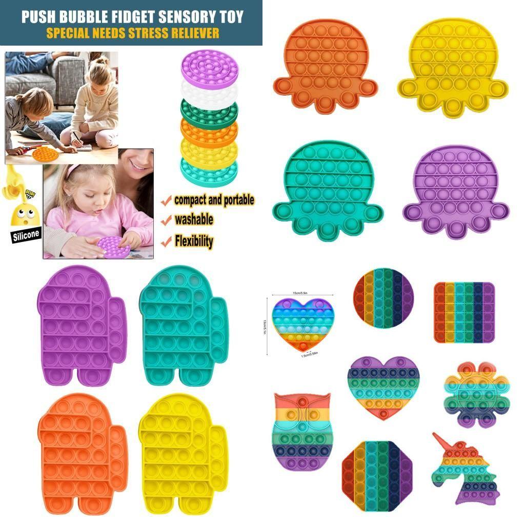 US Stock Fluorescenza Push Bubble Fidget Giocattoli Pop It Autism Has Autism Needs Stress Reviever Aiuti Alleviare lo stress Aumentare Focus Squeeze Toy