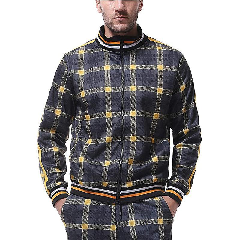 Мужская костюм мода бренд осенний досуг фитнес спортивная одежда новая с длинным рукавом рубашка молнии большой размер