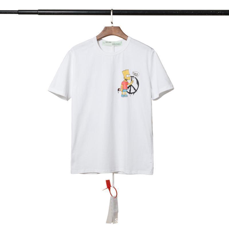 Fashion Marque Ow Simpson Summer Summer Manches courtes T-shirt pour hommes et féminins