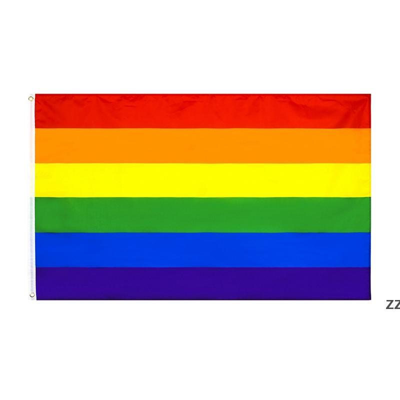 90 * 150 cm Flag Rainbow Bandiera Doppia Crimping Same Sex Flags Square Banner Banner Giardino domestico Prodotti HWB7758