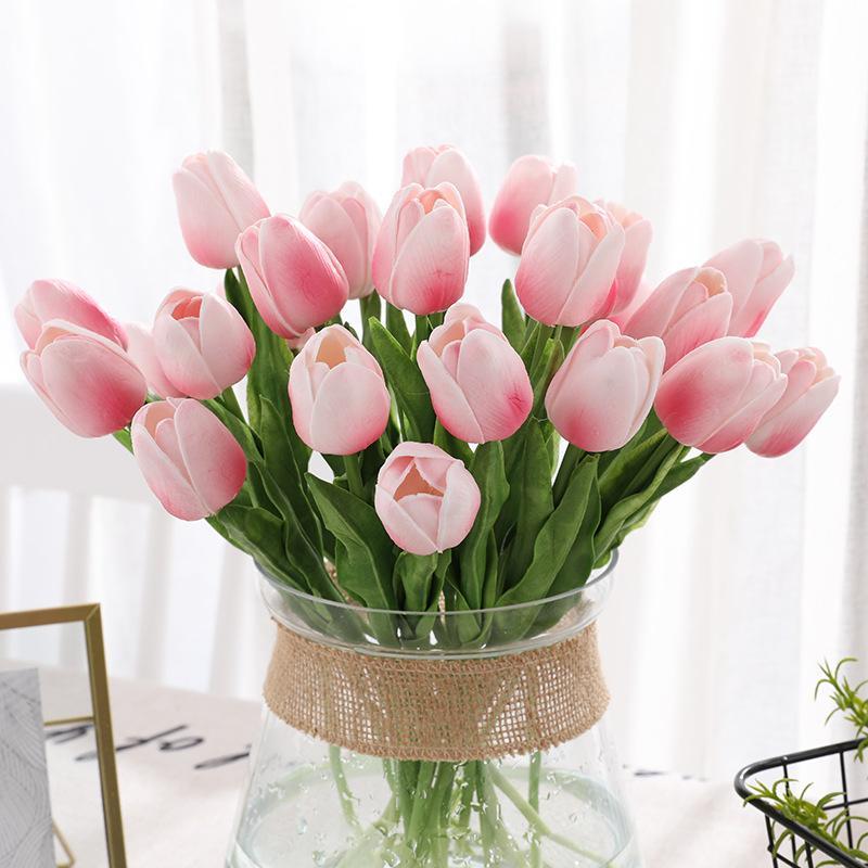 99 adet Yapay Lale Çiçekler Ev Bahçe Dekorasyon Gerçek Dokunmatik Çiçek Buketi Doğum Günü Partisi Düğün Dekorasyon Sahte Çiçek W-00692