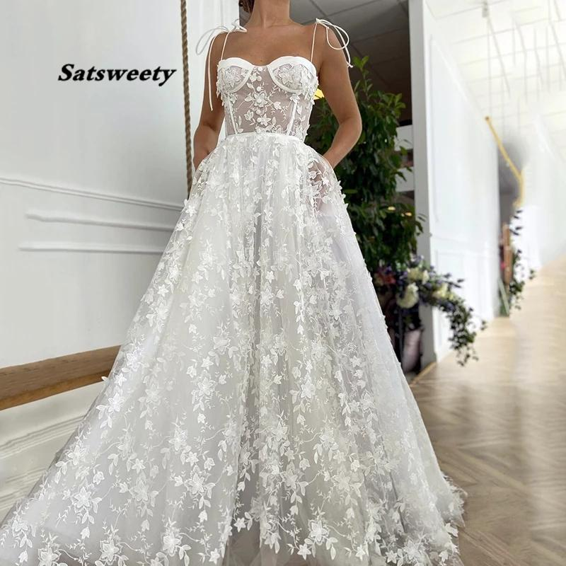 Gorgeous White Sweetheart Sleeveless Lace Appliques Wedding Dress Sexy A-Line Spagetti Straps Long Bridal Gowns Plus Size