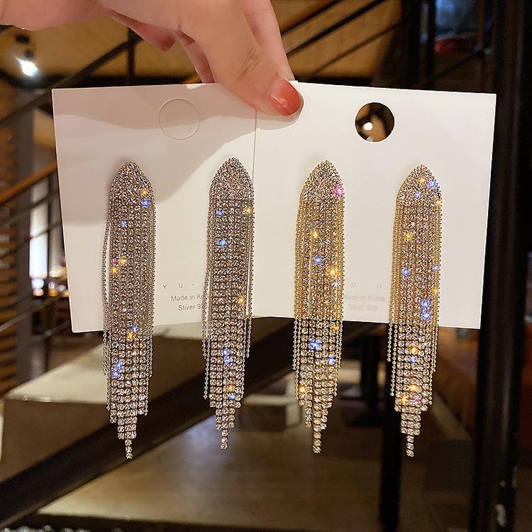 Binduo Triangle Géométrique Crystal Boucles d'oreilles pour femmes Bijoux long Tassel Strassel Dangle Boucles d'oreilles Énoncé bijoux