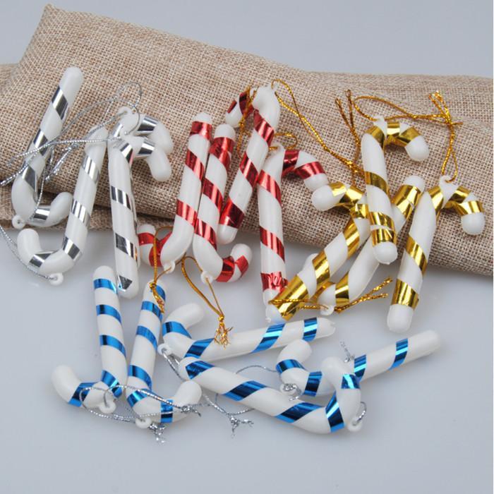 Navidad Candy Cane Adorno Árbol de Navidad Colgante Adornos Drop Adornos Decoraciones Mini Raya Cane Stick Craft Decoración en blanco Dorado Plata Roja YHM572