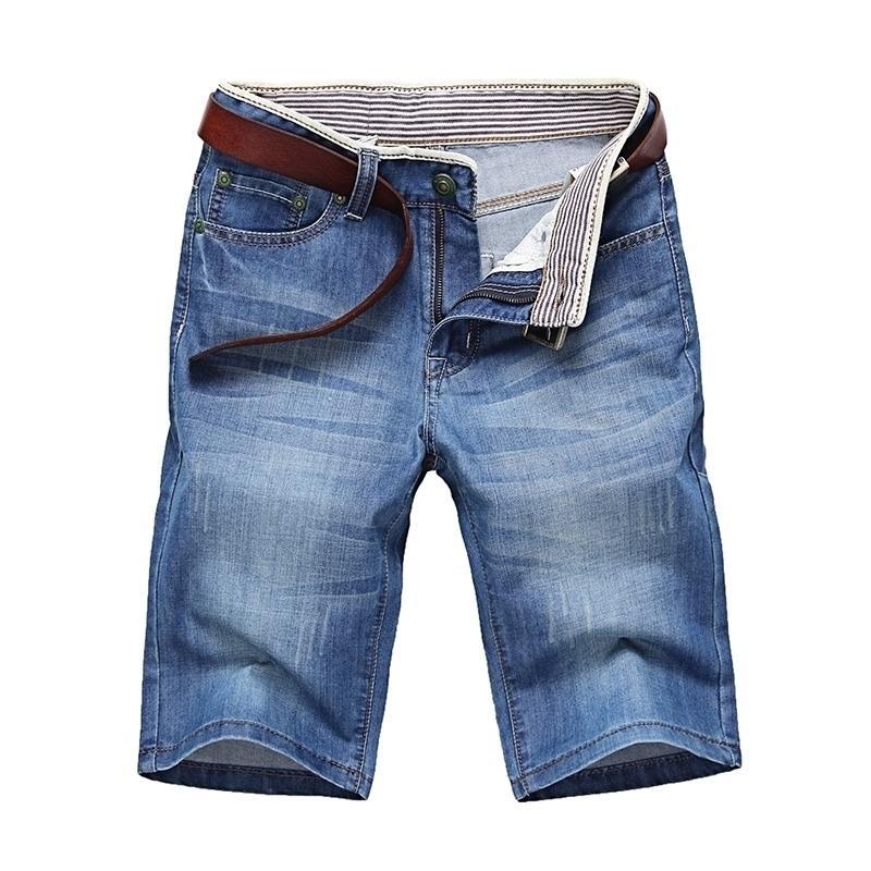 ClassDim Men's Denim Shorts Good Quality Short Jeans Men Cotton Solid Straight Short Jeans Male Blue Casual Short Jeans T200110