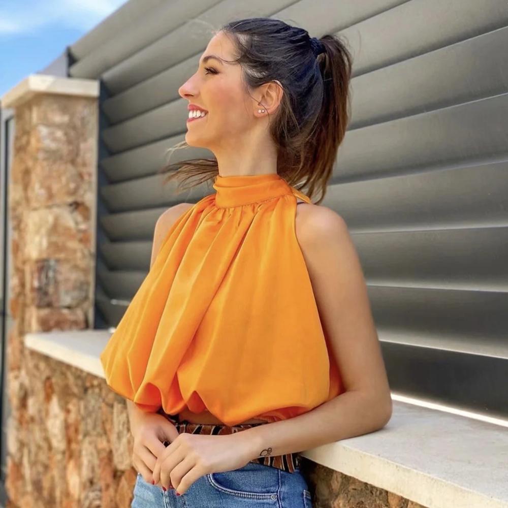 Klacwaya Femmes Sexy Blouses Orange Crop Dames Dames Halter Manches Girl Summer Blusas Vêtements Femme Chic Tops 210225