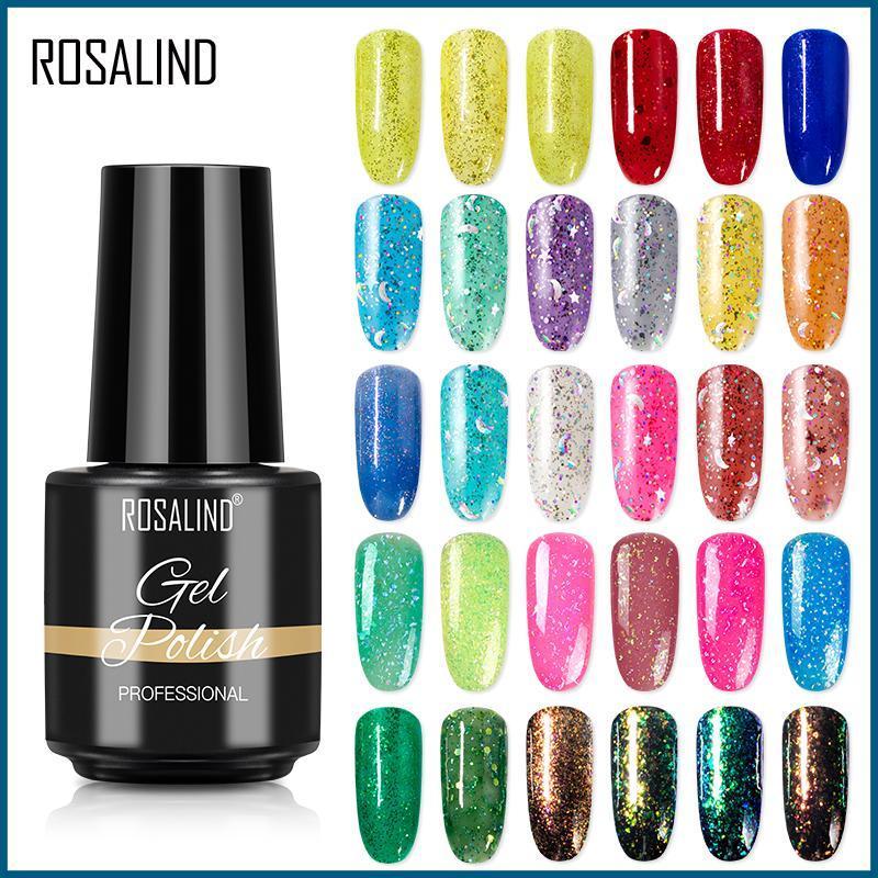ROSALIND Gel Nail Polish Glitter Diamond Sequins UV Gel Varnish 7ML Soak Off DIY Nail Art Design Manicure Semi Permanent