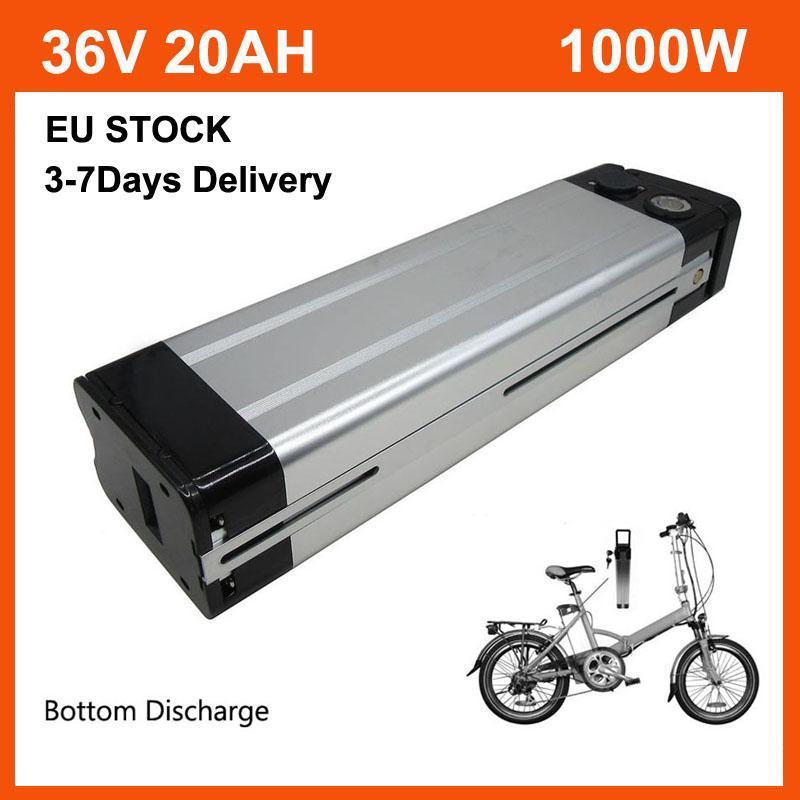 36 V 20AH 1000 W Lityum Gümüş Balık Pil Paketi 36 V 21Ah Li Ion Elektrikli Bisiklet Batteriye BMS 42 V 2A Şarj Alt Deşarj AB stok ile