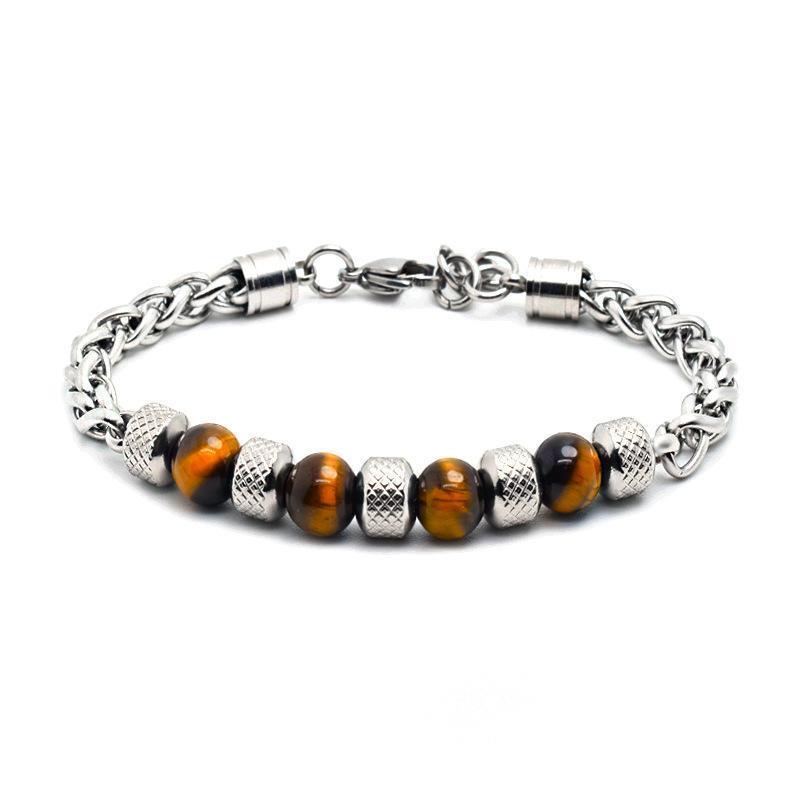 pulseira mens tigre olho pulseira pulseira preta pedra natural encanto homens homens aço inoxidável hip hop jóias steampunk