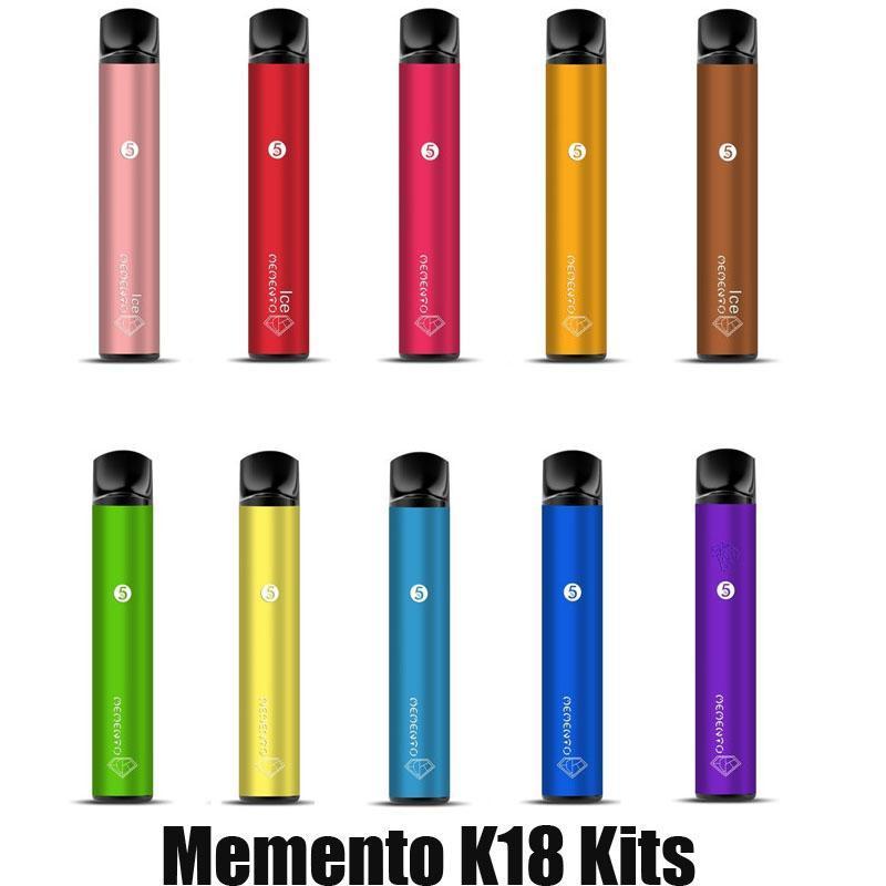 Orijinal Memento K18 Tek Kullanımlık Pod Cihazı Kiti 850 mAh Pil 1500 Puff Tedarik 4.8ml Kartuş Vape Kalem Orijinal VS Bar XXL Plus
