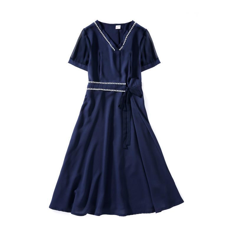 Casual Dresses Büro Schwarzes Kleid Elegante Ukraine Transparent Plus Size V-Ausschnitt Chiffon Sommer Frauen Spleißen Vestidos