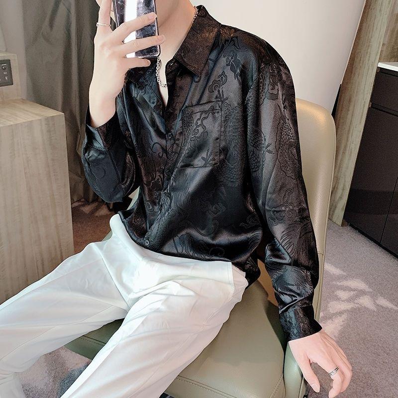 Luxe Immitation Dragon Silk Dragon Chemise Homme Punk Robe gothique Chemises Japon Style Style Hommes Vintage Shirt À Manches longues Loose 210305