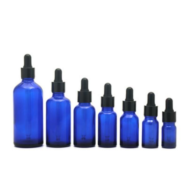 Azul Vidro Líquido Reagente Garrafas Garrafas de Olho Aromaterapia 5ml-100ml Óleos Essenciais Perfumes Garrafas Atacado DHL gratuito