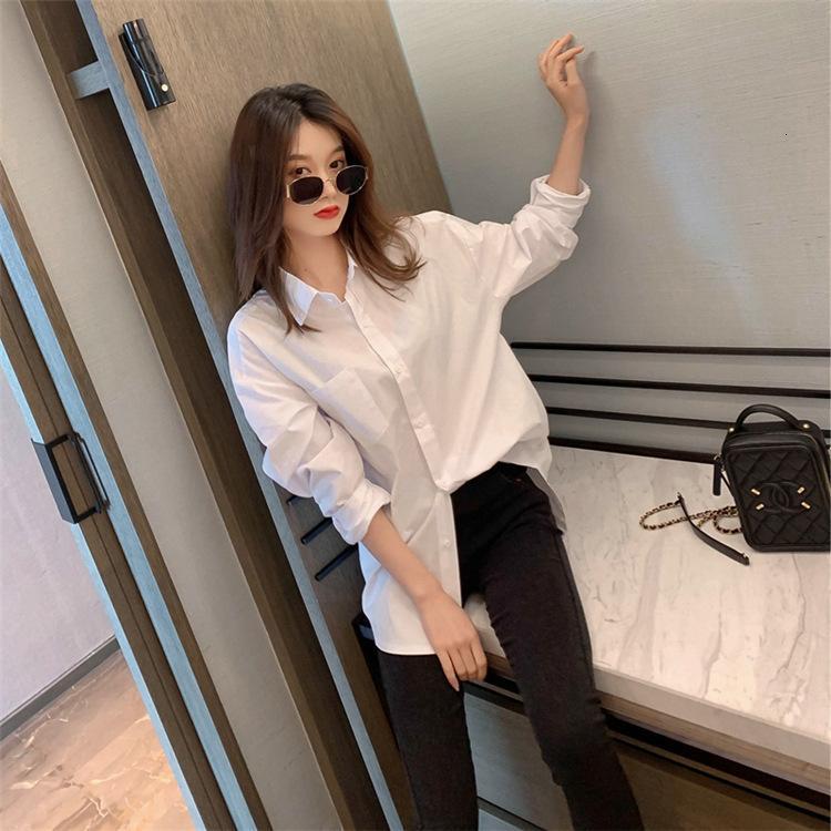Белая рубашка 2021 женская весна и осень и осень, все подходит с длинными рукавами и чистыми цветными рубашками.