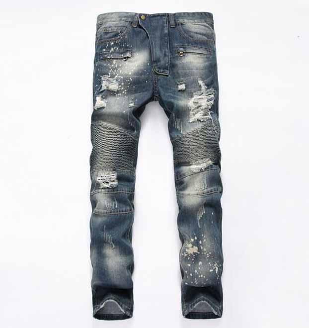 2021 Hole Distrress Jeans famous Men's Long Straight Fit Jeans Casual Denim washed Denim Jeans trousers Large Size 28~42