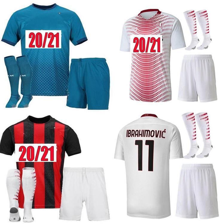 20 21 AC Milan Nouveau Soccer Jerseys Chemise de football Pateque Paquetta Suso Higuain Calhanoglu Caldara Men Kit Chaussettes Kit Jerseys