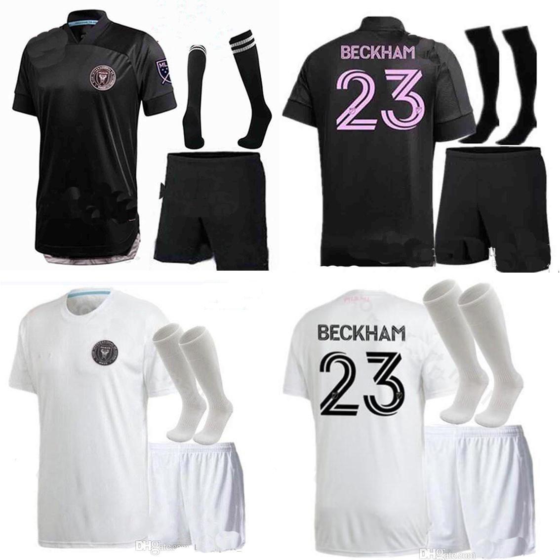 Мужчины + Kids Kit Inter Miami Socar Jersey 20 21 Home Beckham 2020 Julián Carranza Ban пот Pellgrini MLS Интермета Miami CF Boys футбол