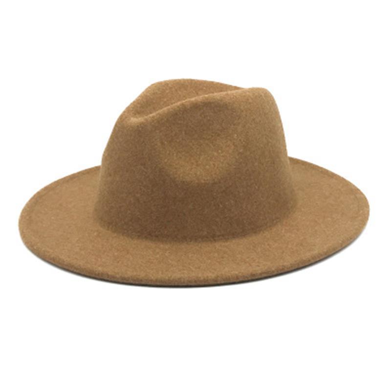Laine Fedoras Chapeaux Solid Couleur Simple Classique Britannique Style Hiver Chapeaux Femmes Hommes Large Bord de mariage Église de mariage