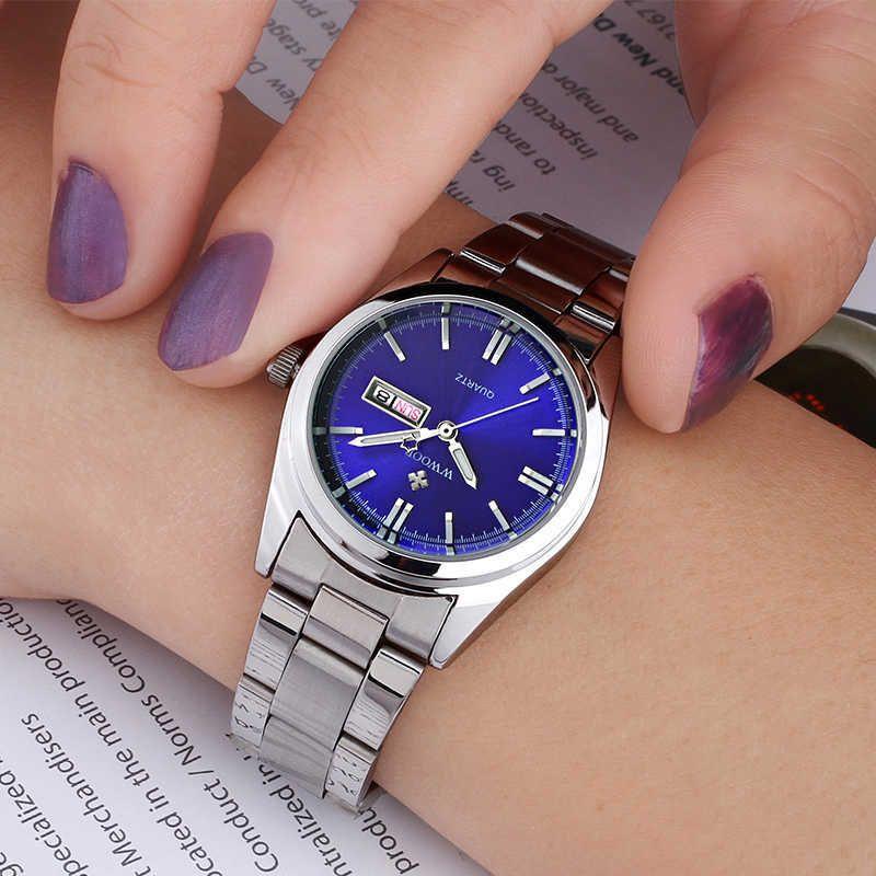 Mode blaue Armbanduhr für Frauen berühmte Marke Wwoor Damen kleines Zifferblatt Watch Casual Calendar Armbanduhr Reloj Mujer 210603