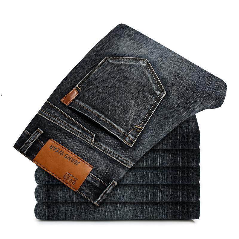 2021 NUEVO MANERA DE HOMBRES Casual otoño suelto suelto elástico elástico más tamaño jeans rasgados para hombres pantalones marca negro azul xwjl