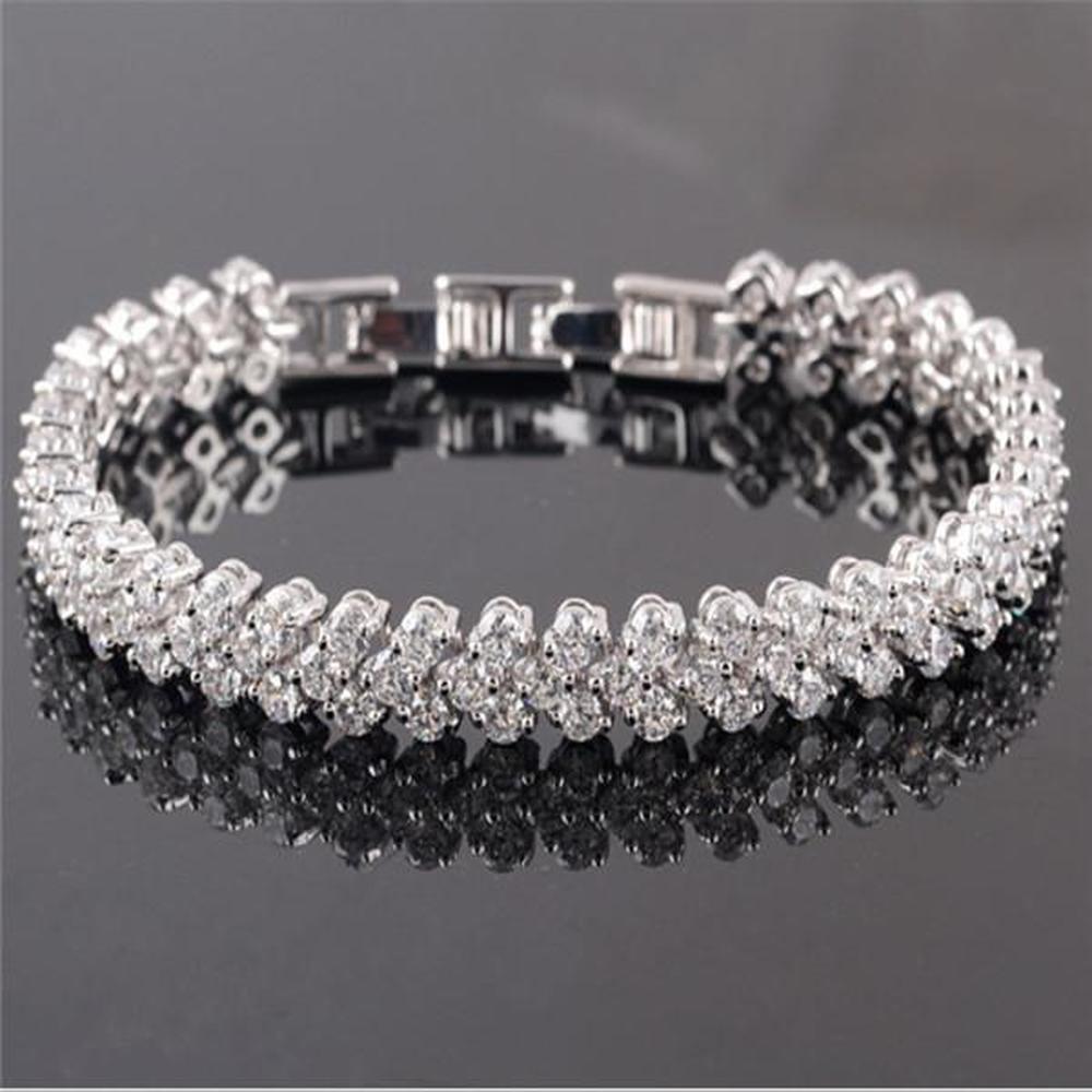 Luxus Glänzende Kristall Armbänder Ketten Echte 925 Sterling Silber Charms Armband Diamant Römische Tennis Schmuck