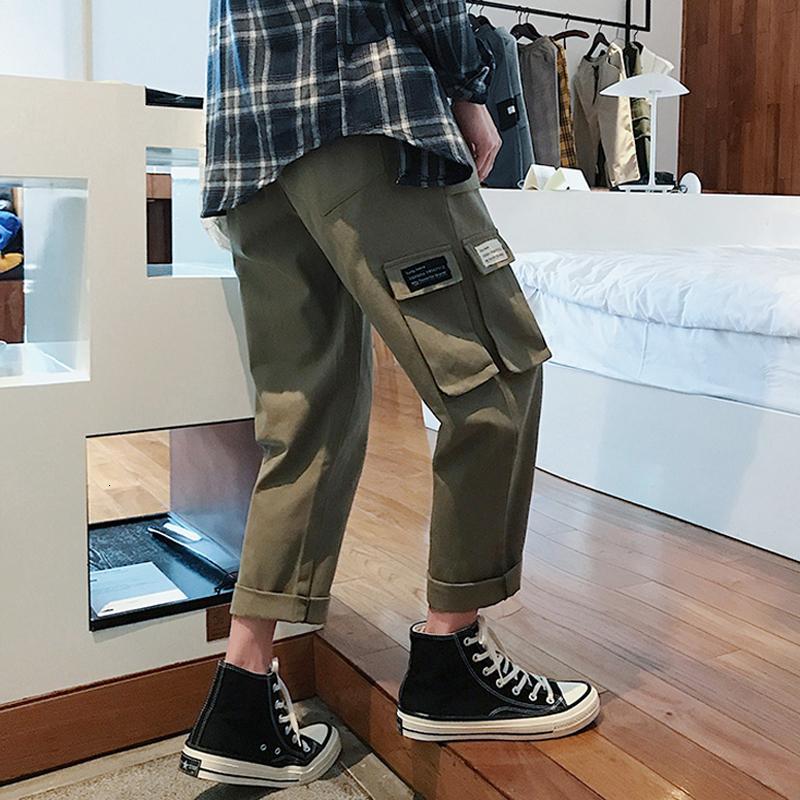 2021 Neue Frühlingsmänner Druck Cargo Pocket Baumwolle Casual Harem Hose Joggers Sweatpants Hip Hop Style Hose Große Größe M-5XL DOIR