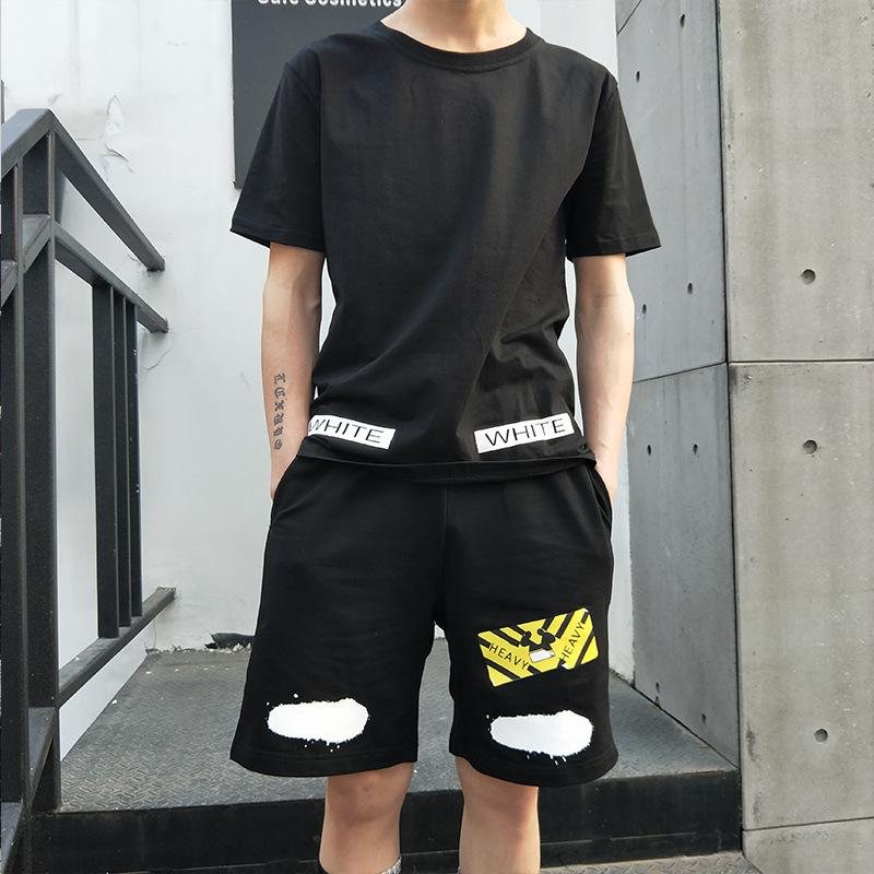Мужской новый бренд спортивный костюм с коротким рукавом футболка корейский модный досуг двух частей набор летом