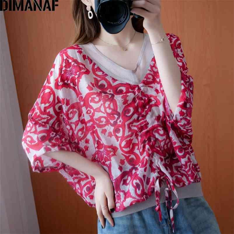 Yaz Artı Boyutu Kadın Bluz Gömlek Vintage Lady Tops Tunik Baskı Gevşek Zarif V Yaka Kadın Giyim Batwing Sleeve 210531