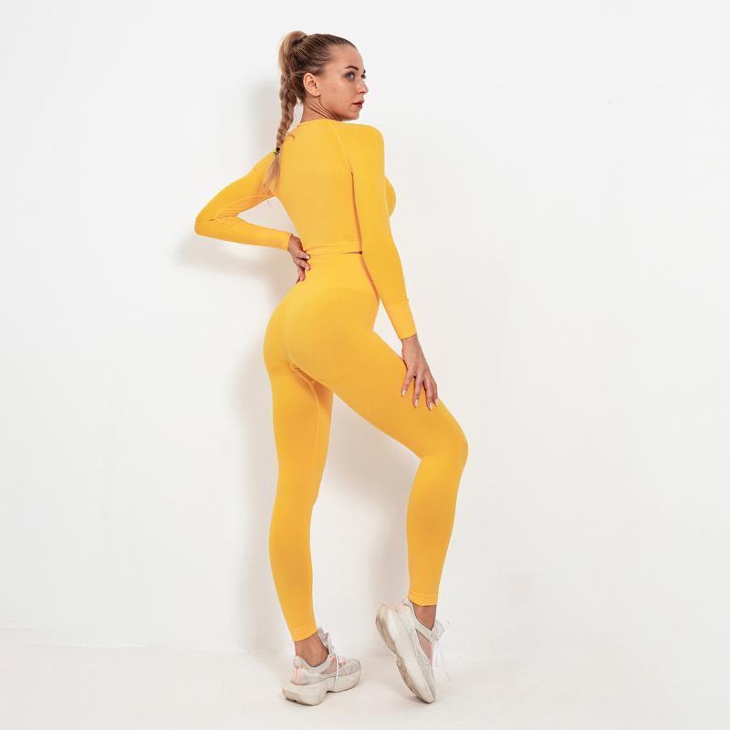 Yoga Outfits GXQIL Winter Fitnessanzug Trainingskleidung Für Frauen Sport Set 2021 Sportbekleidung Frau Gym Ensemble Sport Femme Gelb Orange1
