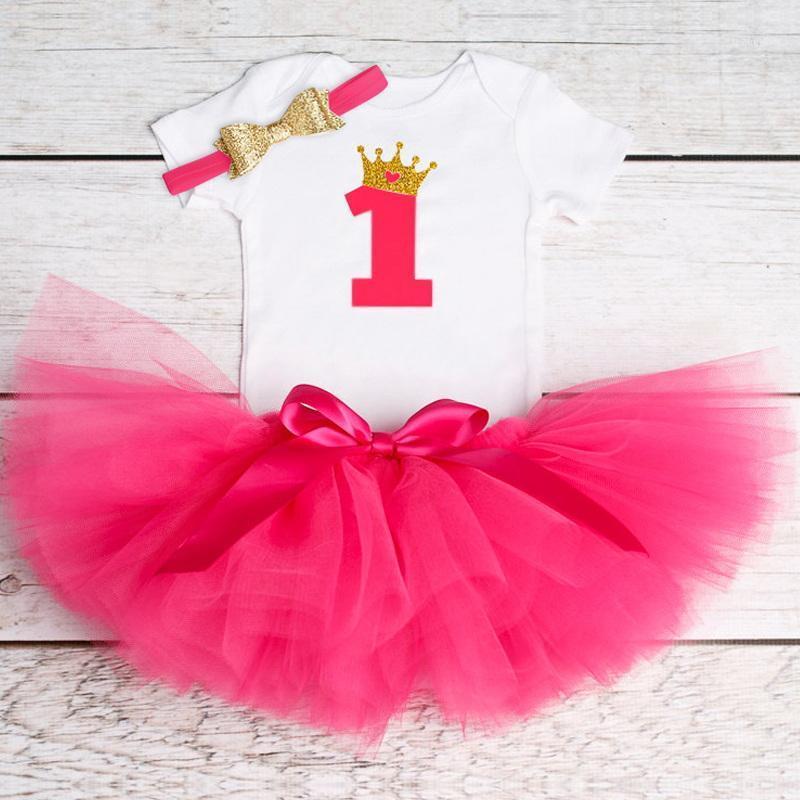 Наборы одежды Малыша Детское платье 1 год Девушка Принцесса Туту Младенческая Милая Детская Одежда Крещение Крещение Костюм Дети Vestidos1