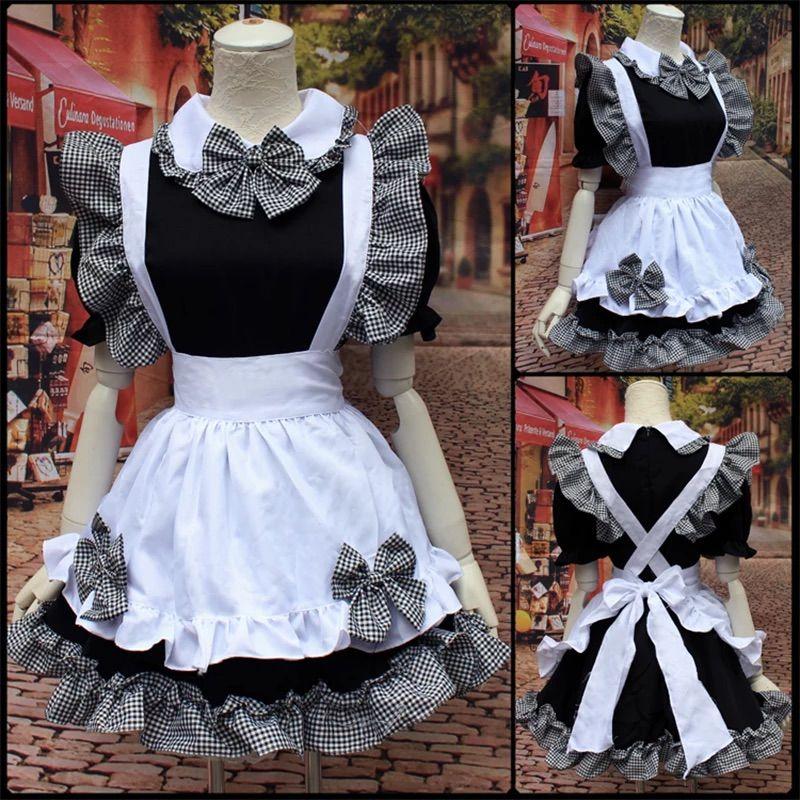 Япония стиль горничная платье Kawaii женщин лолита стиль черный белый плед рюкзал лук платье платье с коротким рукавом костюмы с коротким рукавом