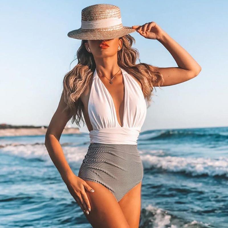 2021 Novo Sexy um pedaço de maiô Mulheres Halter Push Up Swimwear Bodysuit Patchwork Ternos De Banho De Verão Vestir Natação Terno