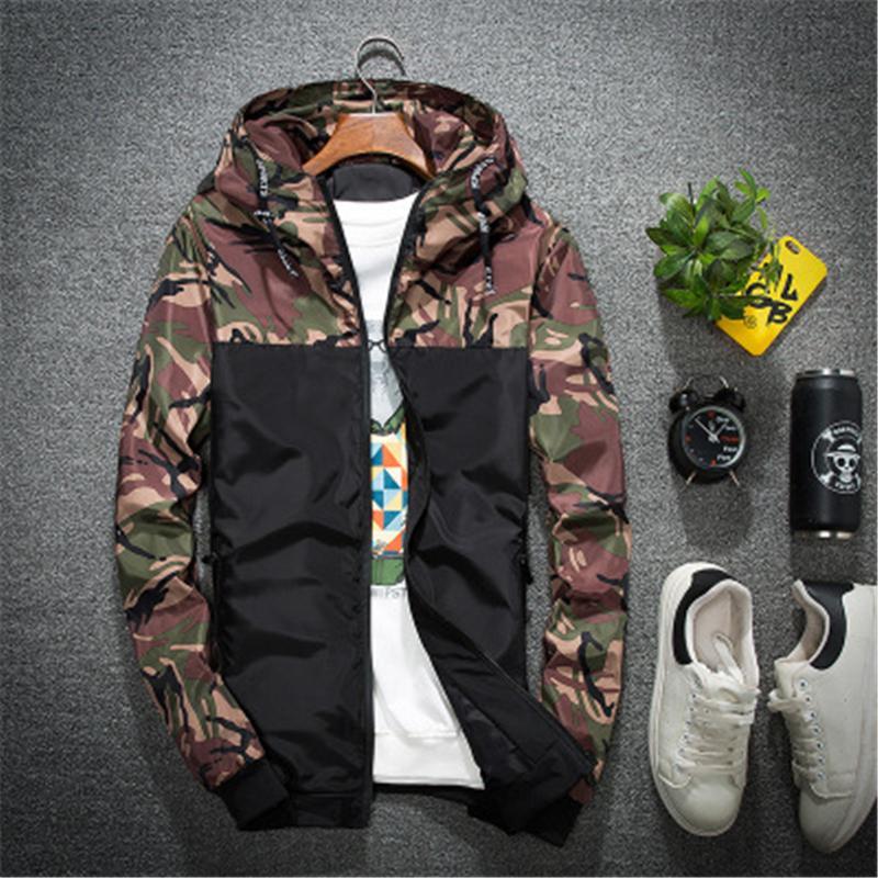 Erkek Kamuflaj Ekleme Ceket Moda Okiski Trend Hırka Fermuar Kapşonlu Giyim Bahar Erkek Yeni İnce Stil Rahat İngiltere Ince Coats
