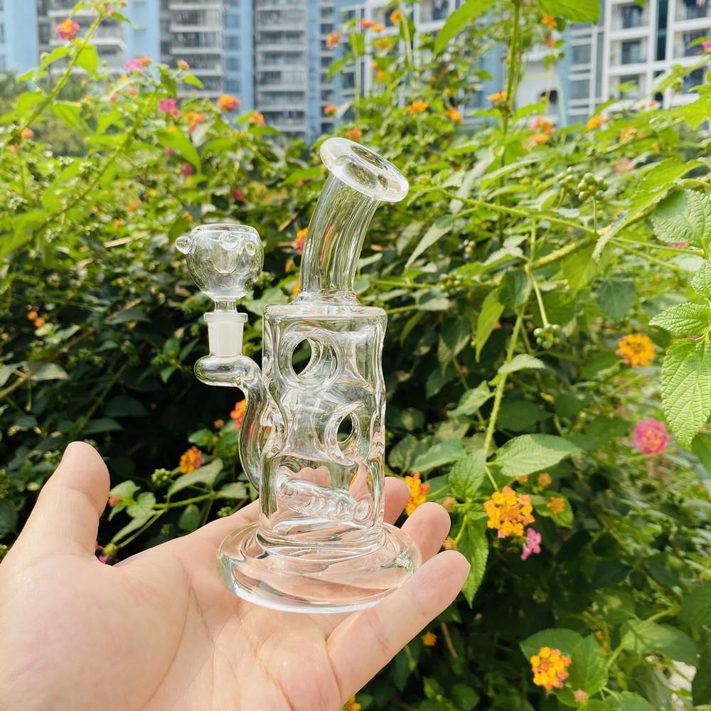 Novo 5 poli mini plataformas de vidro de vidro bong crânio ovo recycler plataformas de óleo inline tubo de água de vidro com tigela quartzo banger