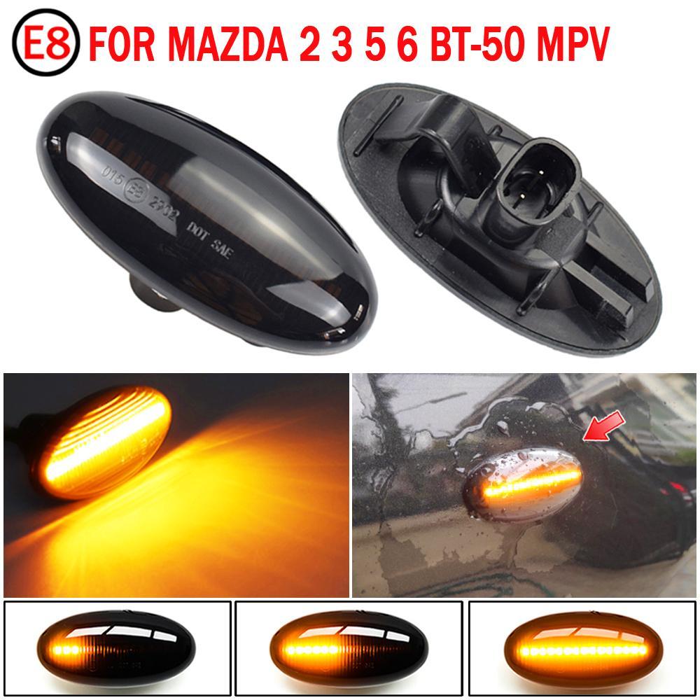2pcs voiture LED Marqueur latéral dynamique Signal Signal Signal Séquentiel Blinker Lumière pour Mazda 2 2003-2014 pour Mazda 3 5 6 BT-50 MPV